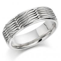 Platinum Laser Patterned Flat Wedding Ring