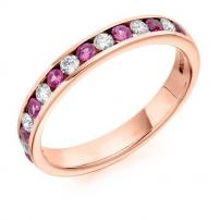 Platinum Pink Sapphire and Diamond Wedding Ring