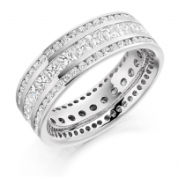 Platinum Princess and Brilliant Cut Diamond Eternity Ring