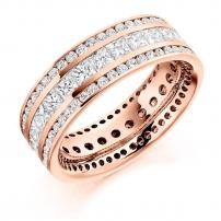 Platinum Princess and Brilliant Cut Diamond Eternity Ring