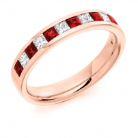 Platinum Princess Cut Diamond and Ruby Wedding Ring