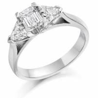 Platinum Trillion and Emerald Cut Engagement Ring