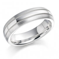 White Gold Matt and Polished Pattern Wedding Ring